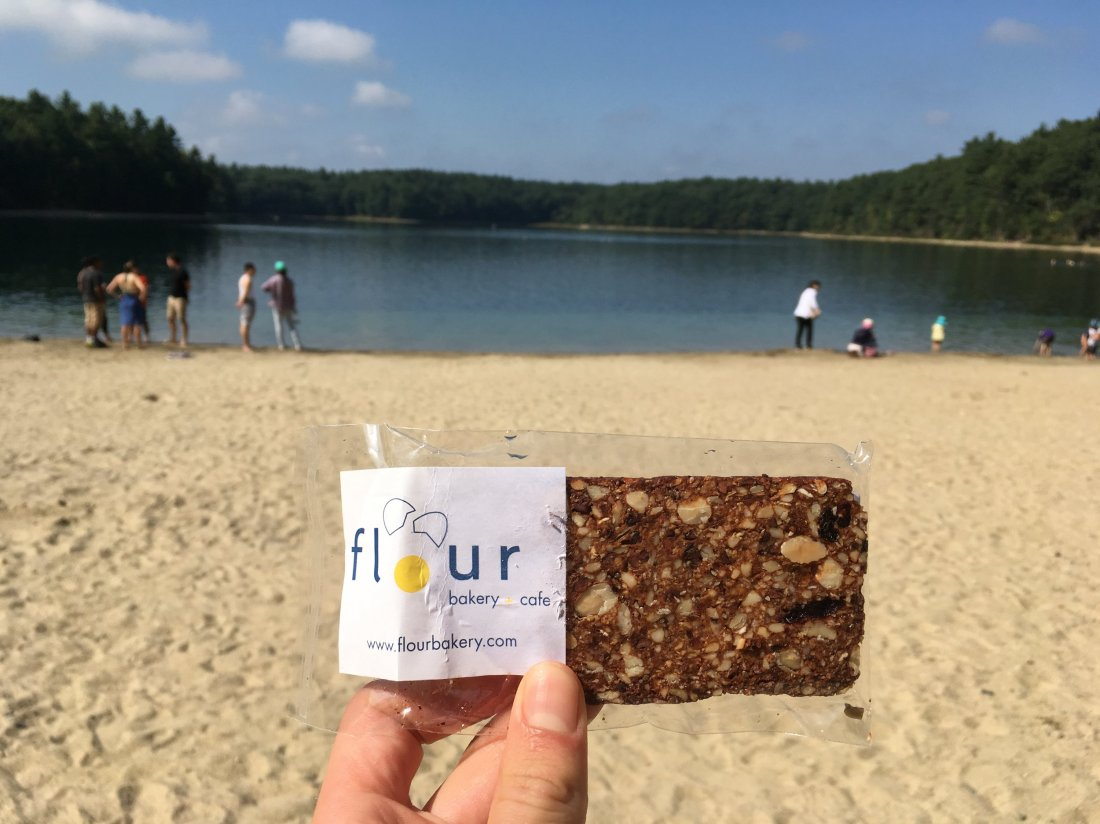 A favorite snack in a favorite place: my summer spiritual pilgrimage consists of morning bike rides to Walden Pond. Naturally, I brought my favorite take-away Flour treat, my own communion in my own sanctuary.