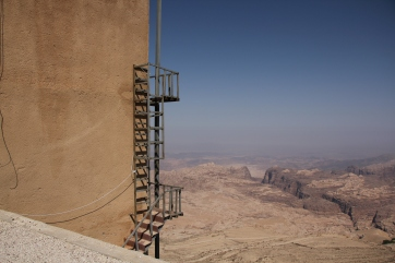 Overlooking a desert valley on a roadstop to Petra