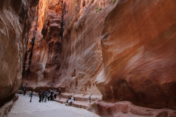 A stone carved aquaduct along the canyons of Petra