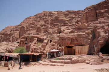 Small shops - and a nicely carved out restroom - dot the journey through Petra