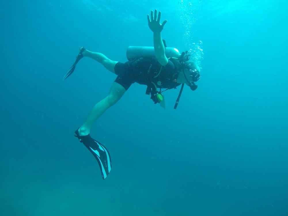 I attempted an underwater airplane pose, just for self-entertainment.