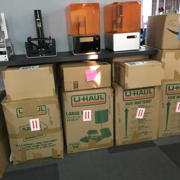 My belongings, boxed and ready to ship from Formlabs